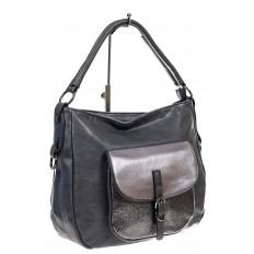 На фото 3 - Женская сумка хобо из гладкой экокожи, цвет серый