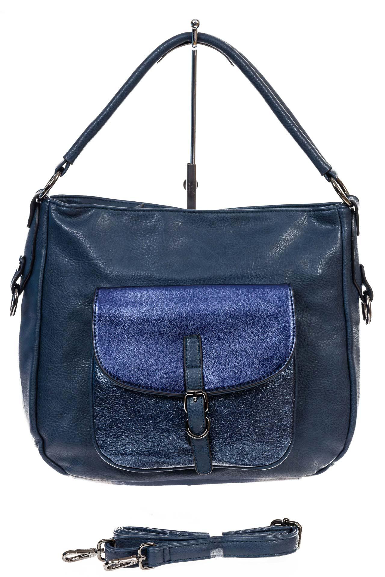 На фото 2 - Женская сумка хобо из гладкой экокожи, цвет синий