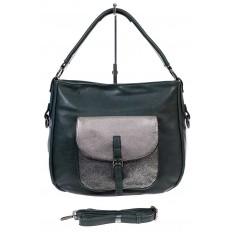 На фото 2 - Женская сумка хобо из гладкой экокожи, цвет зеленый