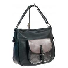 На фото 3 - Женская сумка хобо из гладкой экокожи, цвет зеленый