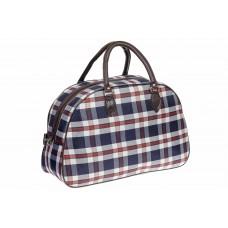 На фото 1 - Дорожная сумка из ткани и кожзама, цвет синий