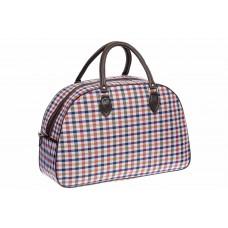 На фото 1 - Дорожная сумка из ткани и кожзама, цвет пестрый
