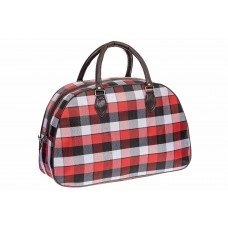 На фото 1 - Дорожная сумка из ткани и кожзама, цвет красный