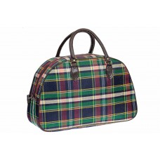 На фото 1 - Дорожная женская сумка из ткани и кожзама, цвет зеленый
