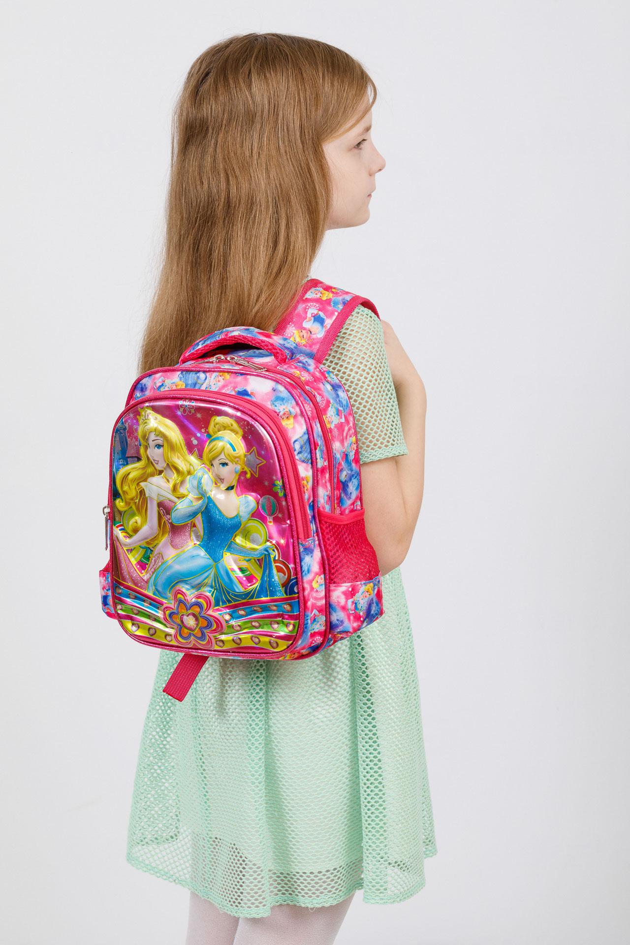 На фото 4 - Небольшой школьный рюкзак из текстиля, цвет фуксия