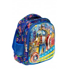 На фото 1 - Небольшой школьный рюкзак из текстиля, цвет синий