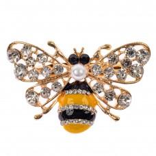 На фото 1 - Брошь с бусиной и камнями пчела