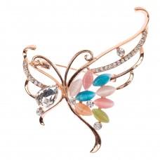 На фото 1 - Ювелирная брошь бабочка со стразами