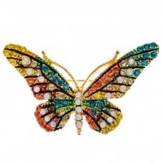 На фото 1 - Брошь в форме бабочки со стразами