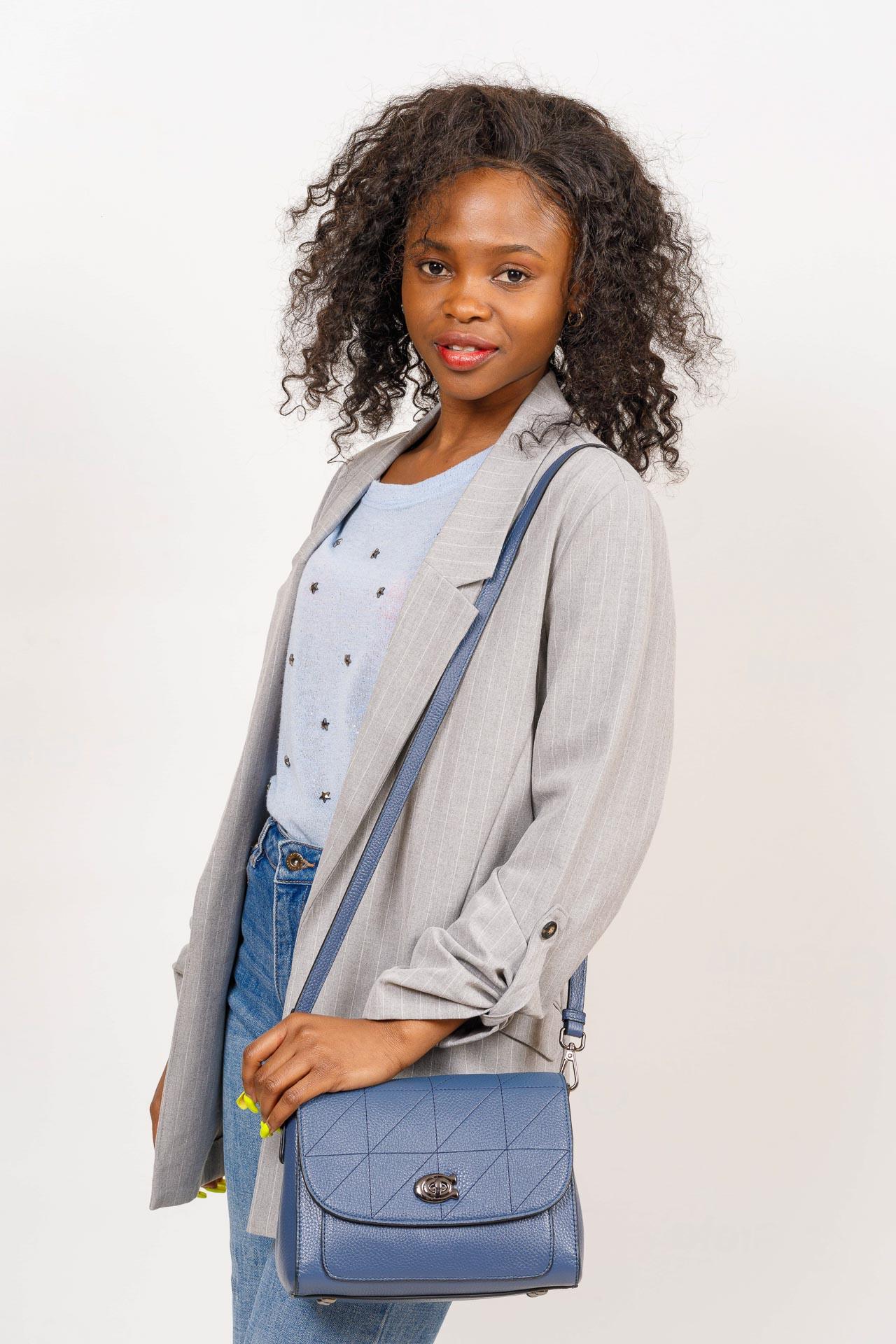 На фото 5 - Сумка-сэтчел женская из натуральной кожи, цвет чёрный