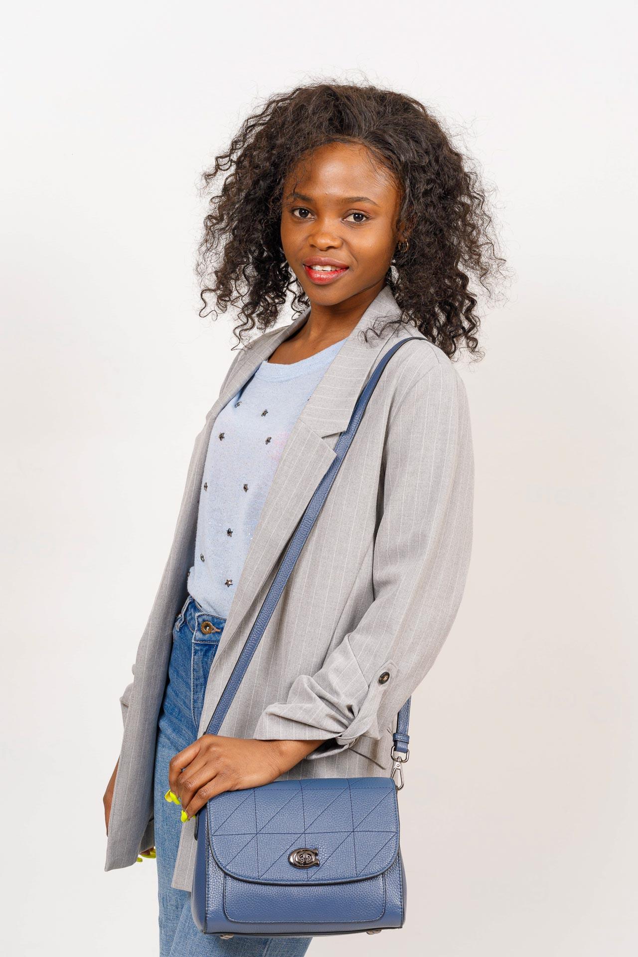 На фото 5 - Сумка-сэтчел женская из натуральной кожи, цвет бирюзовый