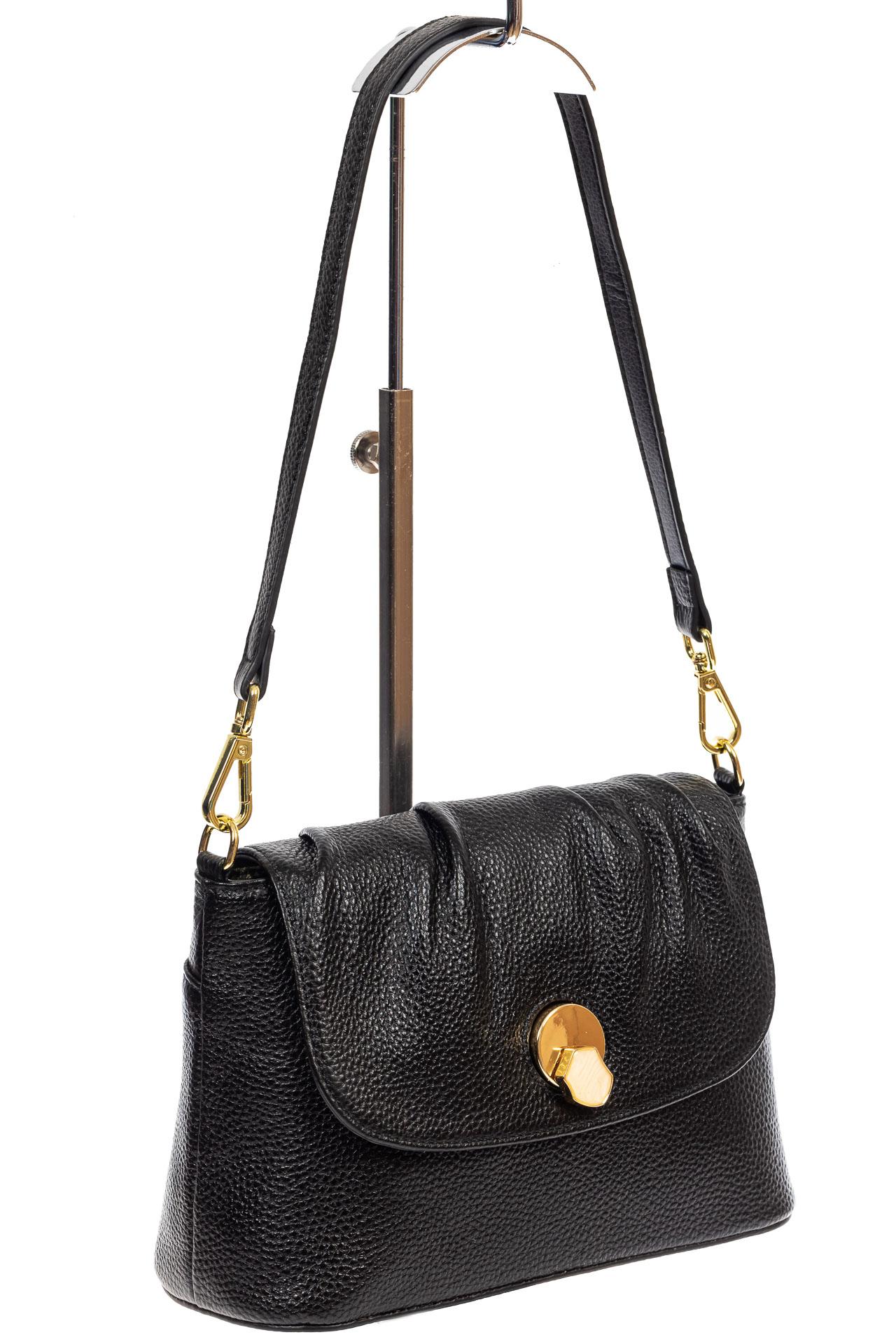 На фото 1 - Маленькая женская сумка с замком-вертушкой, цвет чёрный