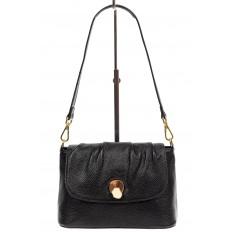 На фото 2 - Маленькая женская сумка с замком-вертушкой, цвет чёрный