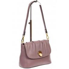 На фото 1 - Маленькая женская сумка с замком-вертушкой, цвет сиреневый