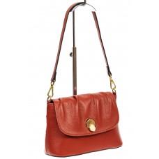 На фото 1 - Маленькая женская сумка с замком-вертушкой, цвет красно-оранжевый