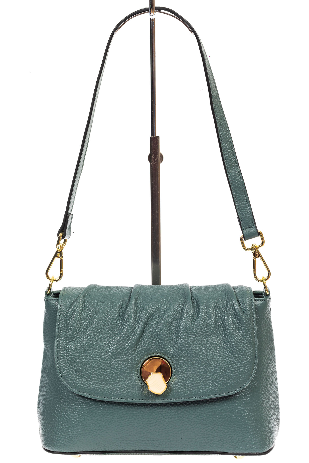 На фото 2 - Маленькая женская сумка с замком-вертушкой, цвет бирюзовый