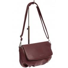 На фото 1 - Женская сумка-седло из искусственной кожи, цвет бордовый