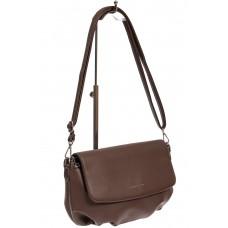На фото 1 - Женская сумка-седло из искусственной кожи, цвет коричневый