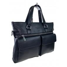 На фото 1 - Мужской портфель из искусственной кожи, цвет чёрный