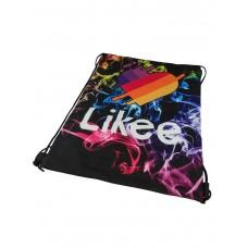 На фото 1 - Мешок для школьной обуви с ярким принтом, цвет чёрный