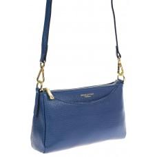 На фото 1 - Сумочка кросс-боди женская из фактурной натуральной кожи, цвет синий