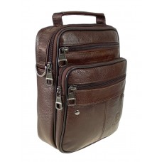 На фото 1 - Коричневая мужская сумка под документы из натуральной кожи