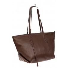 На фото 1 - Трапециевидная сумка из кожи, цвет коричневый
