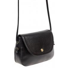 На фото 1 - Женская сумка-малышка из натуральной кожи, цвет чёрный
