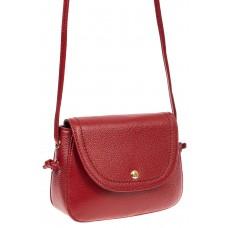 На фото 1 - Женская сумка-малышка из натуральной кожи, цвет красный