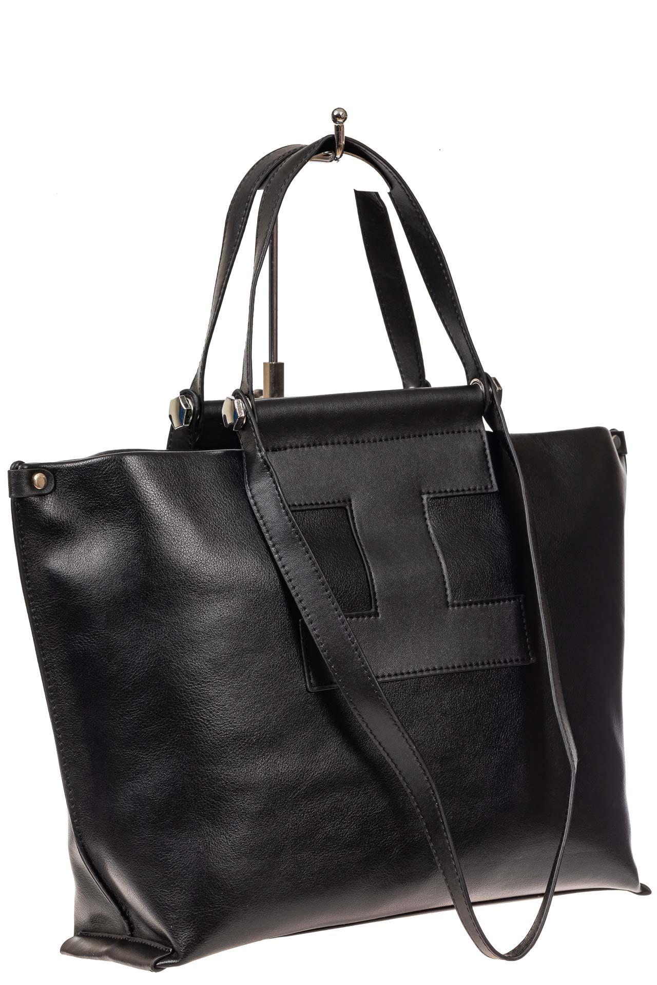 На фото 1 - Женская сумка из натуральной кожи, цвет чёрный