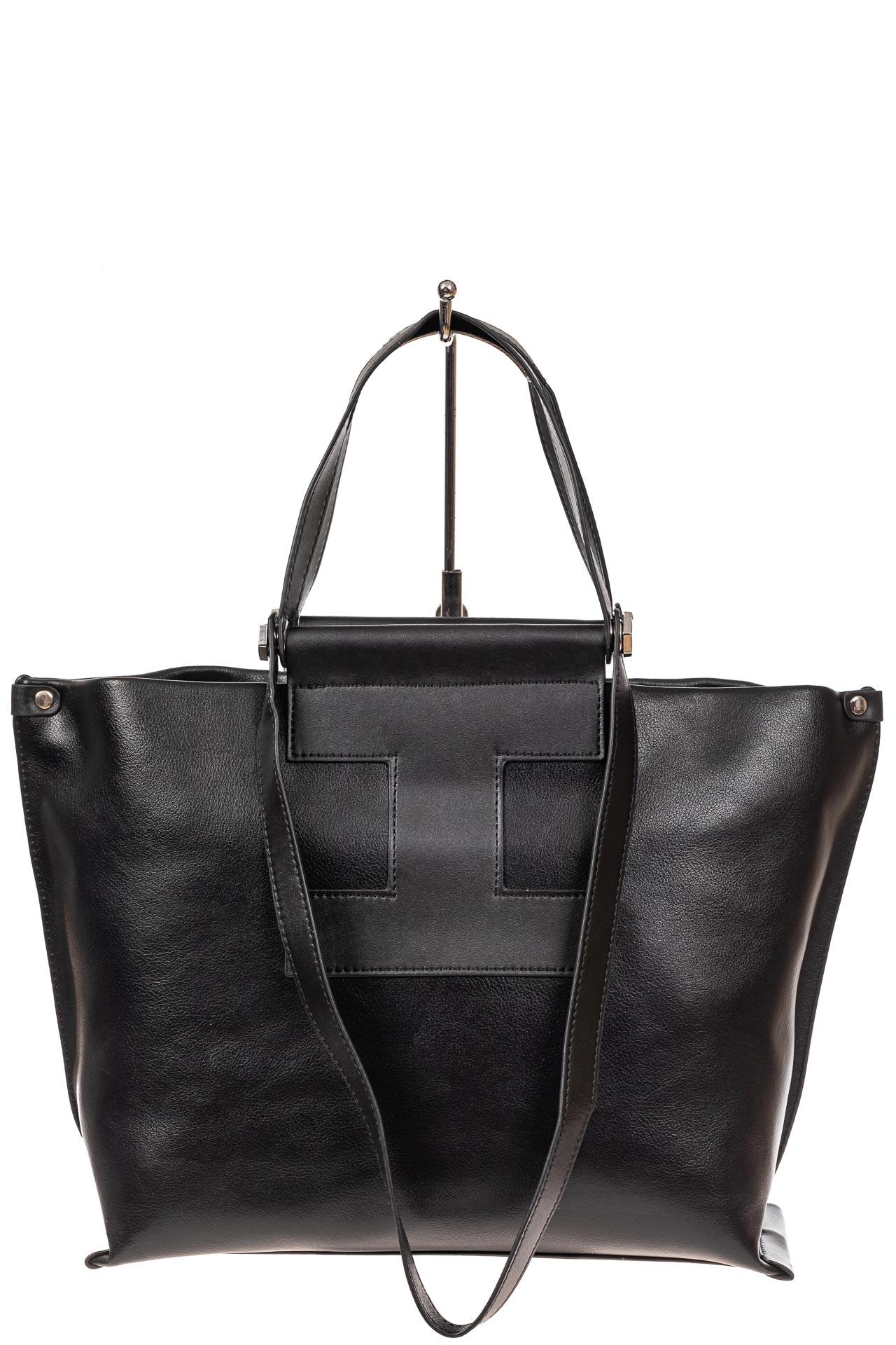 На фото 2 - Женская сумка из натуральной кожи, цвет чёрный