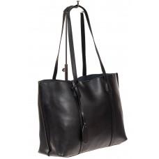 На фото 1 - Женский кожаный тоут, цвет чёрный