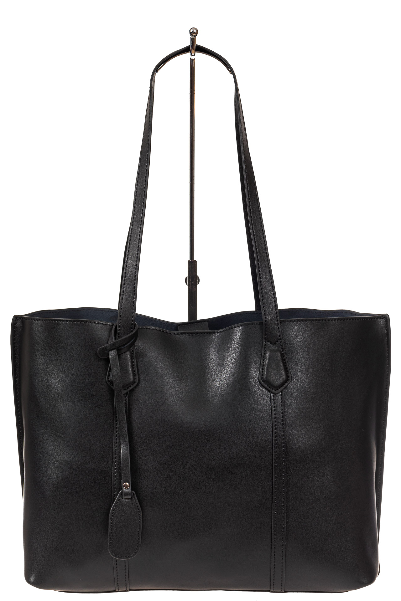 На фото 2 - Женский кожаный тоут, цвет чёрный