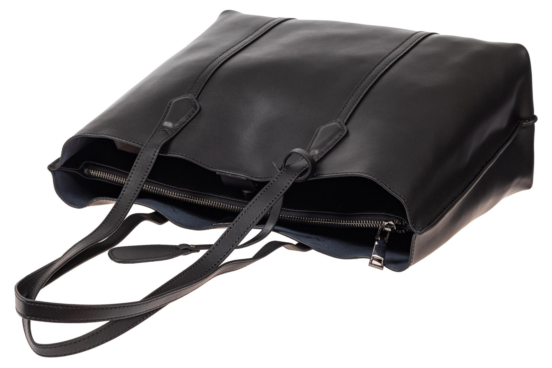 На фото 4 - Женский кожаный тоут, цвет чёрный