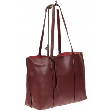 На фото 1 - Женский кожаный тоут, цвет бордовый
