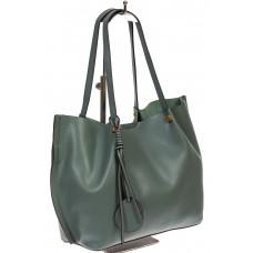 На фото 1 - Кожаная сумка с подвеской, цвет бирюза