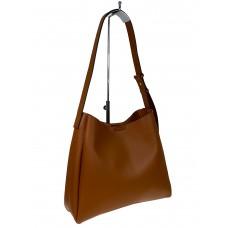 На фото 1 - Женская кожаная сумка на широком ремне, цвет рыжий