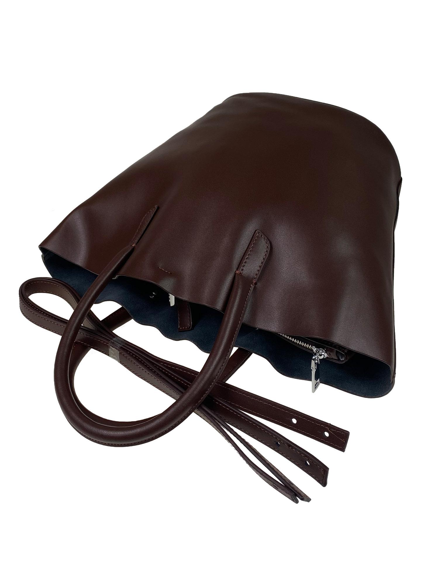 На фото 4 - Сумка-ведро из натуральной кожи, цвет шоколад
