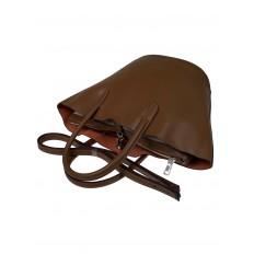 На фото 4 - Сумка-ведро из натуральной кожи, цвет коричневый