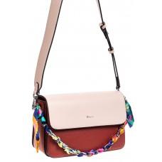На фото 1 - Женская сумка из искусственной кожи с твилли, цвет бордовый
