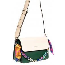 На фото 1 - Женская сумка из искусственной кожи с твилли, цвет зеленый