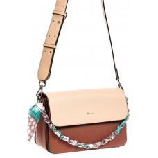 На фото 1 - Женская сумка из искусственной кожи с твилли, цвет коричневый