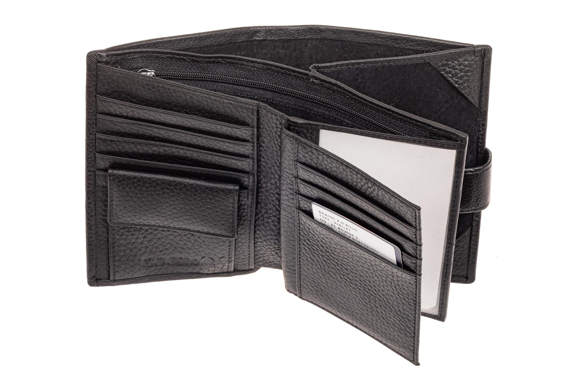 На фото 2 - Мужское портмоне (кошелек) из кожи, цвет черный. От производителя