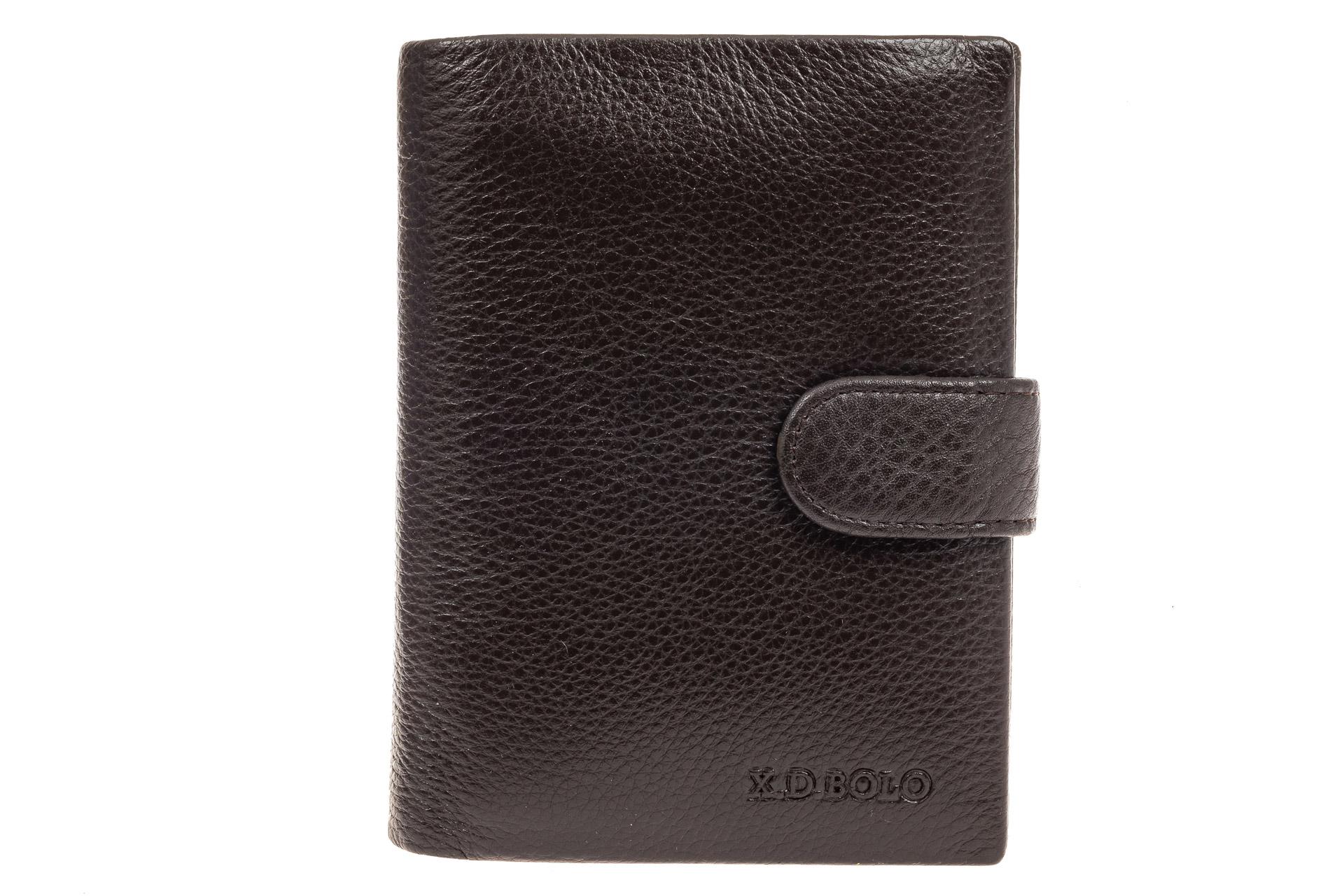 На фото 1 - Мужское портмоне (кошелек) из кожи, цвет коричневый