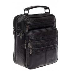 На фото 1 - Мужская сумка под документы из натуральной кожи, цвет чёрный