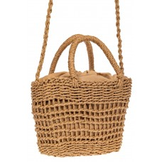 На фото 1 - Плетеная сумка-корзина из джута, цвет бежевый