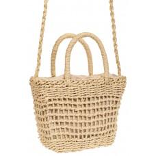 На фото 1 - Плетеная сумка-корзина из джута, цвет слоновой кости