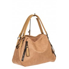 На фото 1 - Большая сумка из искусственной кожи, цвет бежевый