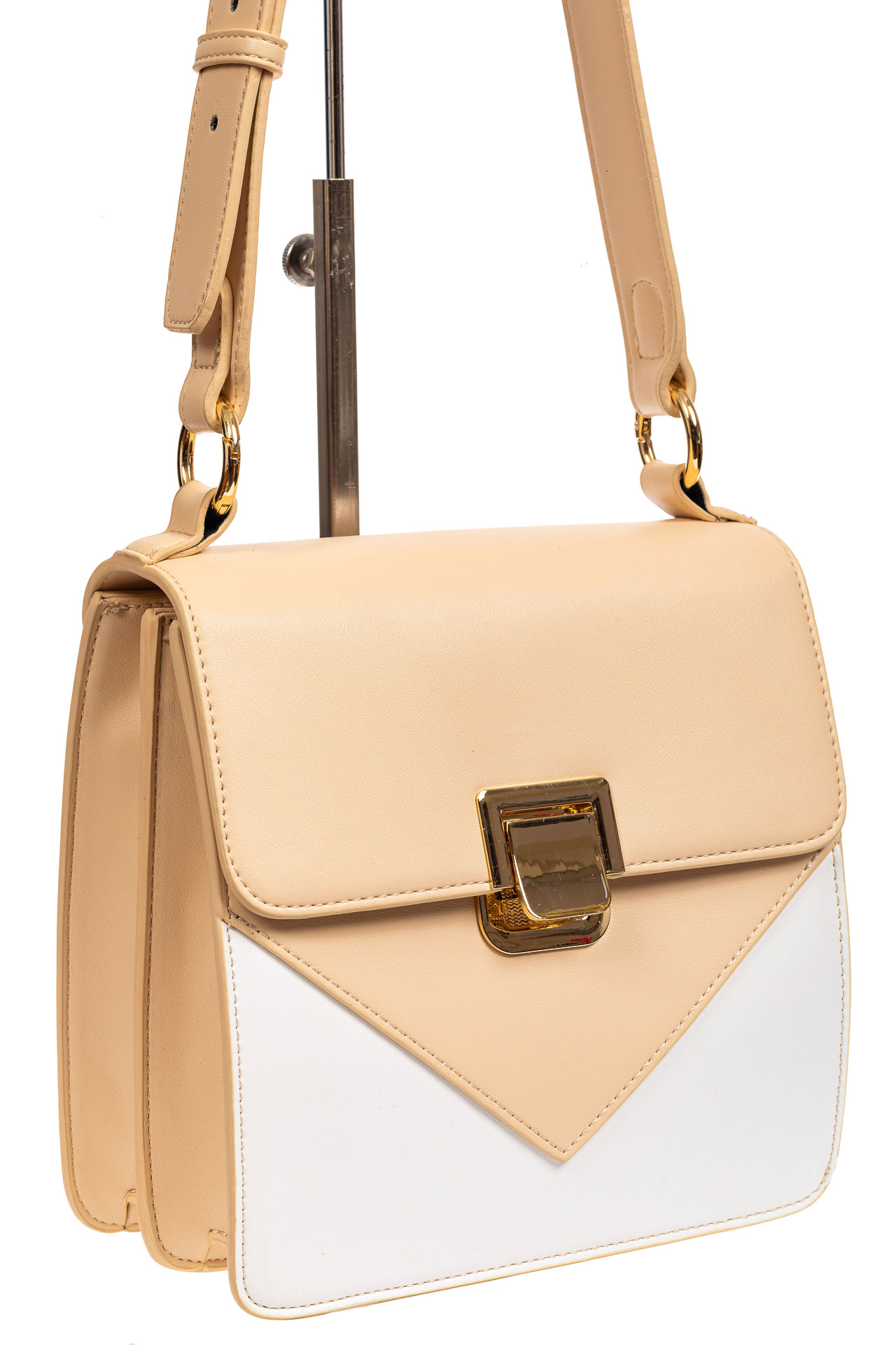 Маленькая каркасная женская сумка из экокожи, цвет бежевый2047NK0420/10