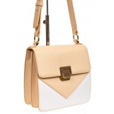 На фото 1 - Маленькая каркасная женская сумка из экокожи, цвет бежевый